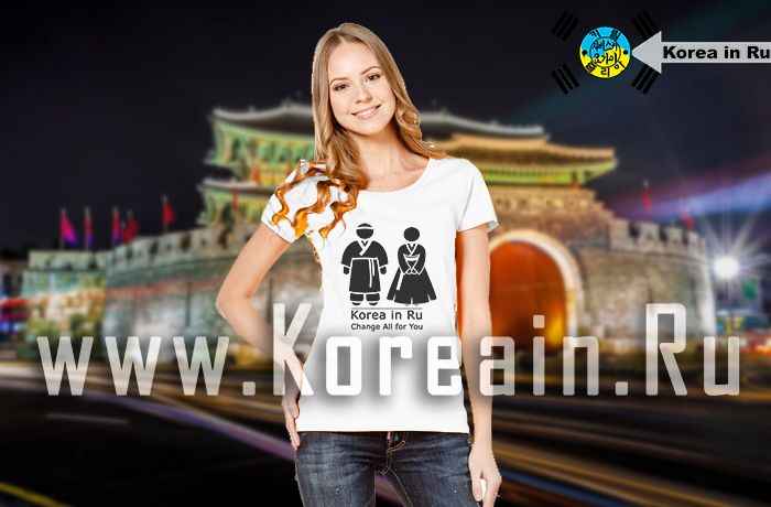 Hanbok human traditional profile T-shirt_W